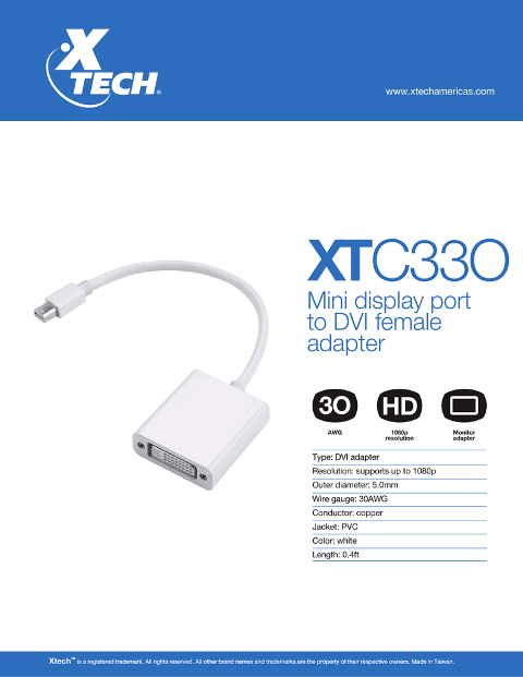 XTECH MINI DISPLAY PORT TO DVI ADAPTER