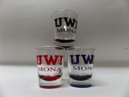UWI 1.5 OZ COLORED BOTTOM SHOT GLASS