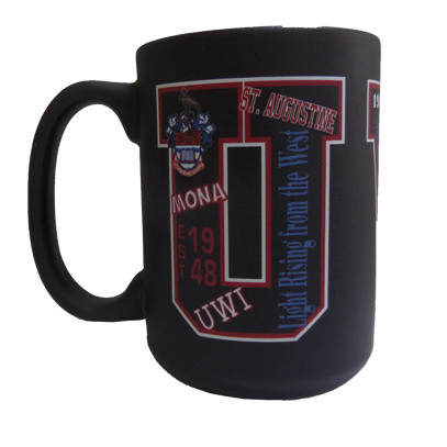 UWI 15OZ MATTE BLACK MUG - UWI WRAPAROUND DESIGN