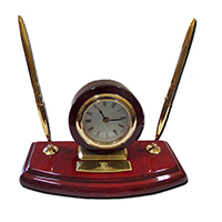 UWI 70TH ANNIVERSARY PIANO WOOD CLOCK WITH TWO PENS