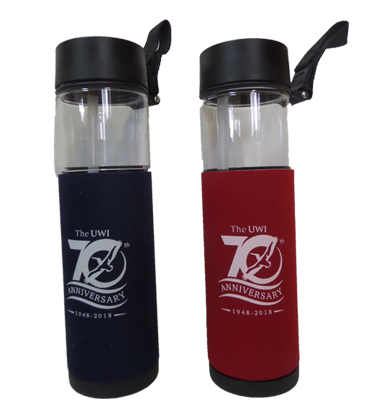 UWI 70TH ANNIVERSARY 240Z WATER BOTTLE WITH NEOPRENE SLEEVE
