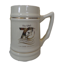 UWI 70TH ANNIVERSARY CERAMIC SCREE-PRINTED STEINS