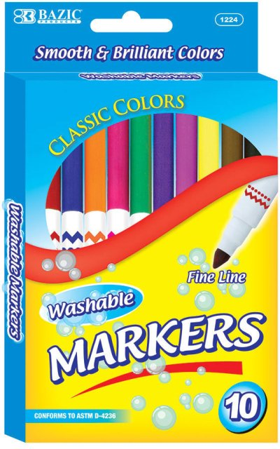 BAZIC 10 COLOUR SUPER TIP WASHABLE MARKERS